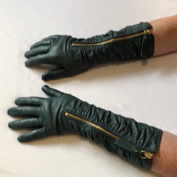 Coach 3/4 soft leather gloves: olive/ blue-grey.